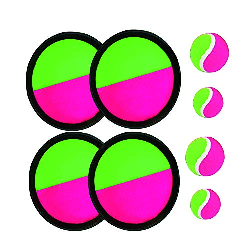 Paddle Catch Ball and Toss Game Set Disc Toss and Catch Paddle Sport Game(4 Paddles and 4 Balls) by BoBofly