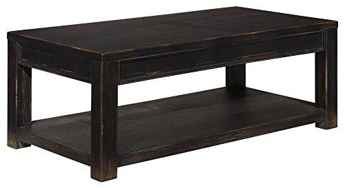Ashley Furniture Signature Design - Gavelston Black Coffee Table - Cocktail Height - Rectangular - Weatherworn Black ()