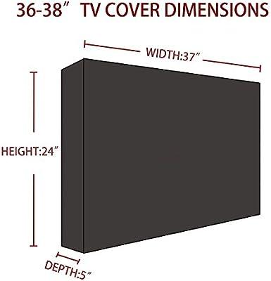 DIFEN - Funda para televisor al aire libre, nuevo diseño de sellado inferior, protector universal impermeable para LCD, LED, televisores de plasma, bolsillo de almacenamiento para mando a distancia integrado: Amazon.es: Electrónica