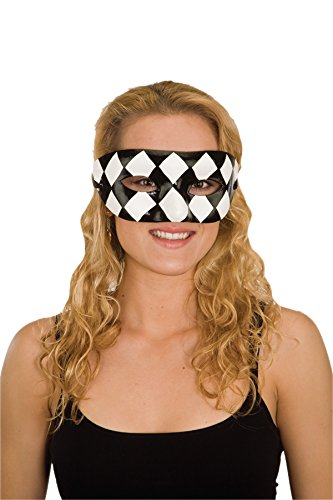 Jacobson Hat Company Women's Harlequin and White Mask, Black/White, Adult ()
