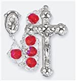HRT001 17'' Fine Quality Imported from Italy 7mm Faux Ruby Aurora Borealis Ladder Rosary