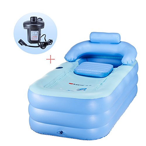 CO-Z PVC Portable Foldable Inflatable Bathtub Free Standing Bath Tub with Electric Air -