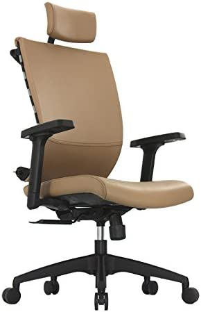 ApexDesk SK Series Ergonomic Leather High-Back Office Chair Adjustable Seat Height, Backrest and Armrest Brown
