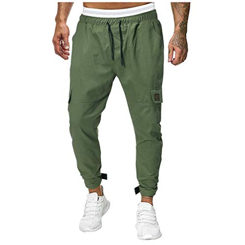- Casual Splicing Pure Color Overalls Men Pocket Sport Work Casual Trouser Pants Green