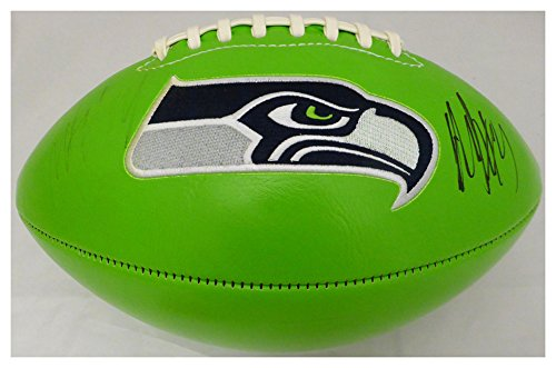 Marshawn Lynch Autographed Signed Green Logo Football Seattle Seahawks Autographed Signed Twice ML Holo #21000 - Certified Authentic ()