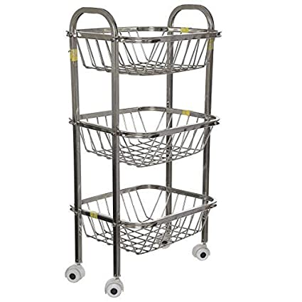 Generic Steel Fruit & vegitable Trolley & get Free Vegetable Zipper Fridge Bag Pack