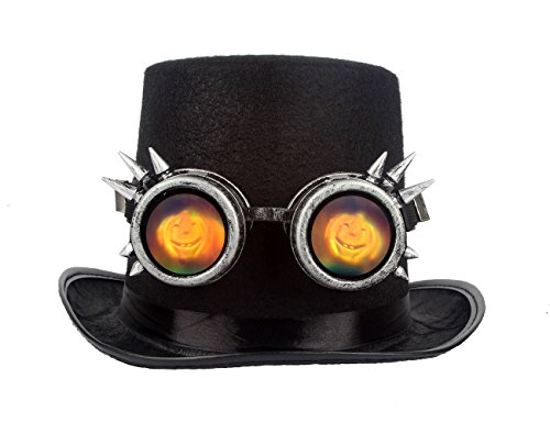 FLORATA NEW Sell Retro Vintage Funny Wacky Glass Lense Cat's Eye, Skull, Punkin Face Steampunk Goggles Cosplay Safety Goggles Halloween, Fun Party, EDM Occasion ()