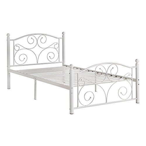 Amazon Com Svitlife Adrian Twin Metal Platform Bed Classic White