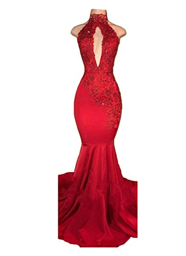 alilith.Z Sexy High Neck Long Mermaid Prom Dresses Backless Beaded Appliques Lace Evening Dresses for Women 2019 ()