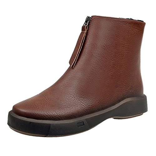 Neartime Promotion❤️Women Boots, 2018 Fashion Student Flat Martin Boots Solid Color Zipper Thick Short Leather Shoes by Neartime Sandals (Image #5)