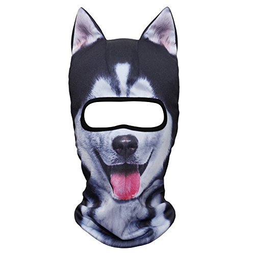 JIUSY 3D Animal Ears Balaclava Windproof Cover Hood Face Mask Sun Protection for Skiing Snowmobile Riding Hunting Music Festivals Raves Halloween Party Outdoor Sport Winter Activities Husky Dog MEB-02