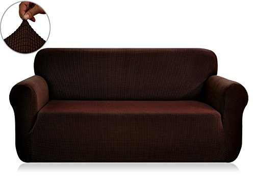 CHUN YI Jacquard Sofa Covers 1-Piece Polyester Spandex Fabric Slipcover (Loveseat, Chocolate) - Polyester Furniture Cover