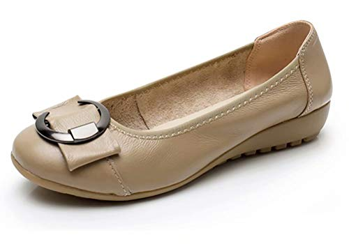- Women's Genuine Leather Comfort Ballet Flats Slip On Dress Shoes US Size 10 Khaki