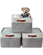 DECOMOMO Foldable Storage Bin   Rugged Canvas Fabric Cube Container with Handles   Great for Organizing Closets, Offices and Homes (Grey/White, Extra Large - 40x32x25cm)
