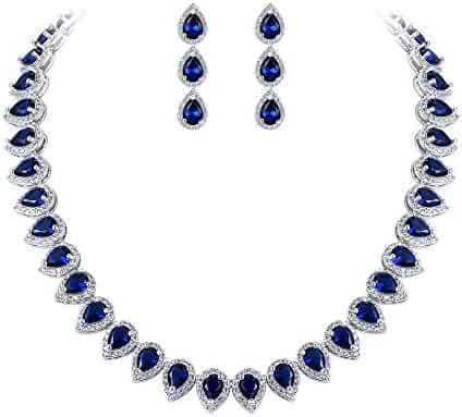 326f4f08a EleQueen Women's Silver-Tone Full Prong Cubic Zirconia Teardrop Bridal  Necklace Earrings Set Sapphire Color