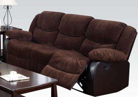 ACME 50465 Bernal Motion Sofa with Chocolate Corduroy and PU Match