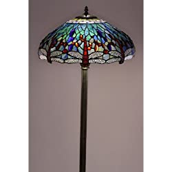Floor Lamp Tiffany Style Dragonfly with Two Pull Chains for Easy Operation - 61 in High x 18 in Wide x 18 in Diameter
