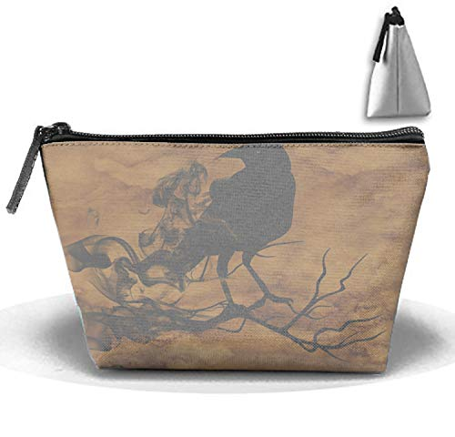 PANQJN Halloween Crow Cosmetic Bag Fashion Makeup Bags Travel Case with Handle -