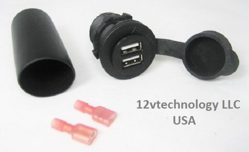 Amazon waterproof dual usb charger socket with snap over cap waterproof dual usb charger socket with snap over cap and terminal boot 12 volt to 5 publicscrutiny Choice Image