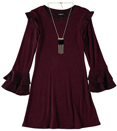 Amy Byer Big Girls' Bell Sleeve Dress (Wine, 10-12) -