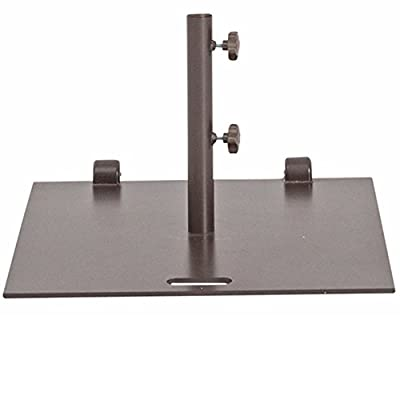 """Abba Patio 78 lb. Square Steel Market Patio Umbrella Base Stand with Wheel and 2 Separate Poles for 1-1/2"""" and 1-7/8'' Diameter Umbrella, 24''L x 24''W, Brown"""