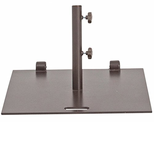 Abba Patio 78 lb. Square Steel Market Patio Base Stand with Wheel and 2 Separate Poles for 1-1/2
