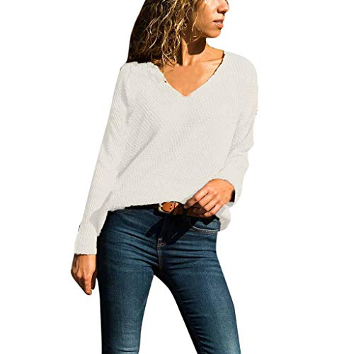 WOCACHI Blouses for Womens, Women's V-Neck Solid Color Matching Long-Sleeved Slim Sweater Pullover Sweater Girlfriend Boyfriend Gift Under 5 10 Fashion Newest Couples