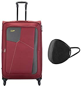 Skybags Rubik Polyester 78 cms Red Softsided Check-in Luggage (Rubik) & VIP - VSAVE 6 Layer Protective Air Mesh Large Size Mask
