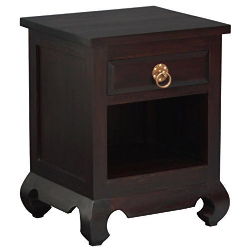 NES Furniture NES Fine Handcrafted Furniture Solid Mahogany Wood Shanghai Nightstand / Bedside Cabinet - 26 inches by NES Furniture