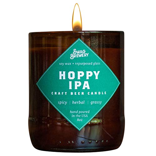 Hoppy IPA Brew Candle - Hand Poured in USA (Soy Wax) - Great Gift for Beer Lovers - for The Man Cave, Brewery, or Home (Made from Recycled Beer Bottles), Beer Gift, Guy Gift, Beer Bottle Candle