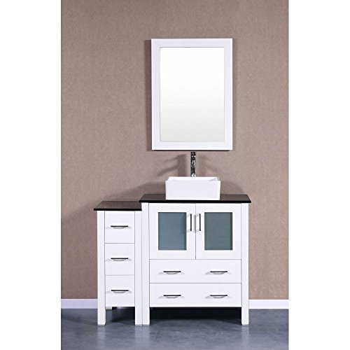 """Bosconi Bathroom Vanities 42"""" Single Vanity With Square Vessel Sink, Countertop, Center Cabinet, 2 Drawers, Mirror, And A Side Cabinet, White/Tempered Black Glass lovely"""