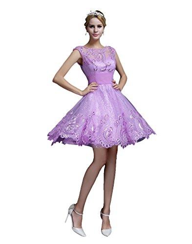 Sleeve Dress Cocktail Purple See Through Emily Hem Short Mini Lace Beauty Backless vxRFIwgqw