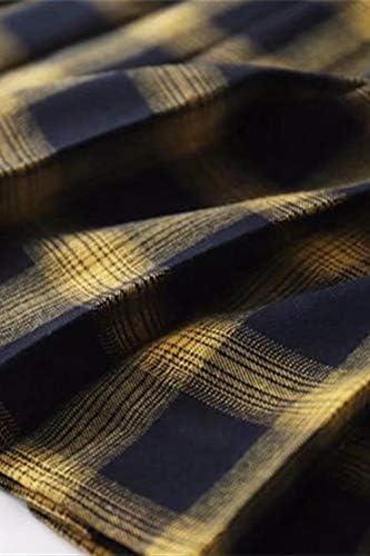 Mcaishen La Falda Plisada de Las Mujeres de Cintura Alta era Delgada Falda a Cuadros Amarilla Versi/ón Coreana de la Universidad Falda Plisada Viento Una Falda de Tenis de Palabra