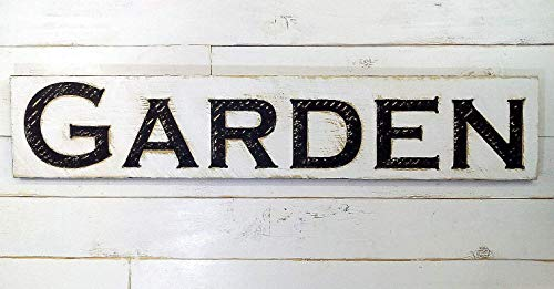 """GARDEN Sign 48"""" X 10"""" - Carved in a Wood Board, Rustic Distressed Shop Advertisement Farmhouse Style Wooden Garden Gift Produce Vegetable Tomatoes"""