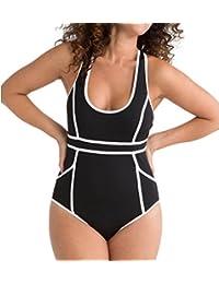 5c91f16846238 HourGlass Racerback One Piece Swimsuit (2624) 6/Navy Splash ThinStripe
