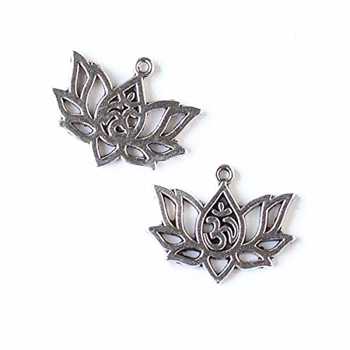 Cherry Blossom Beads 16x20mm Silver Pewter Om Lotus Flower Charm - 10 Per Bag Cherry Blossom Flower Bead