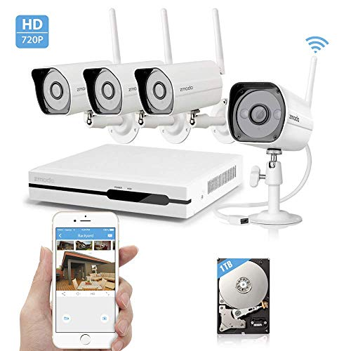 Zmodo Wireless Security Camera System – NVR w/ 1TB Hard Drive, 4 x 720P HD Wireless Cameras Night Vision – WiFi Easy Installation No Video Cables Needed