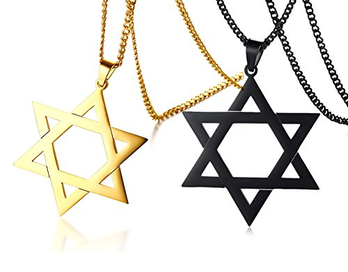 Jewish Religious Symbol Jewelry Stainless Steel Star of David Hexagram Pendant Necklace for Men boy
