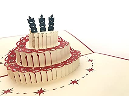 Tarjeta de cumpleaños: Tres tienda tarta de cumpleaños con ...