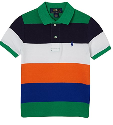 Ralph Lauren Boys Striped Cotton Mesh Polo Shirt (M 10 - 12) - Ralph Lauren Polo Shirts Kids