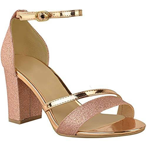 (Fashion Thirsty Womens Low Block Heel Diamante Sandals Wedding Party Prom Size (9 US, Rose Gold)