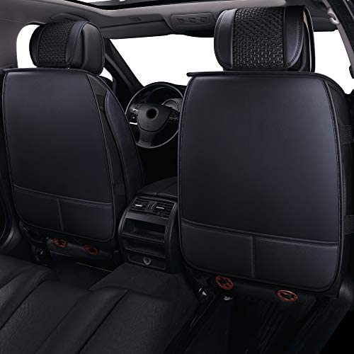 LUCKYMAN CLUB 2 Front Driver Seat Covers Fit Most Sedan SUV Truck Fit for Toyota 4runner Tacoma Rav4 Corolla Camry Prius Sienna Acura Tl Tsx 4 Runner 2 PCS Front, Black