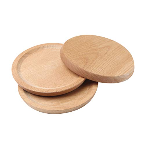 4 Pcs Beech Serving Plates Round Solid Wood Tray Heavy Duty Coasters Stackable Home Party Plates - 14x14cm