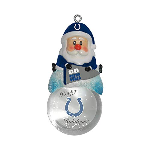NFL Indianapolis Colts Snow Globe Ornament, Silver, 1.5
