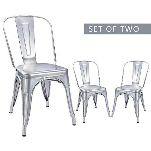 Furmax Metal Dining Chair Tolix Style Indoor-Outdoor Use Stackable Chic Dining Bistro Cafe Side Metal Chairs Sliver (2 pack) (Bistro Chairs Metal)