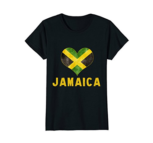 Womens I love Jamaica t shirt - Jamaican Flag Heart Shirt Tee Small Black Jamaican Flag Heart