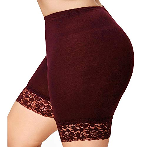 Toponly Comfy Lace Patchwork Shorts for Women Mid Waist Solid Slips Elastic for Under Dresses Short Yoga Pants Wine Red -