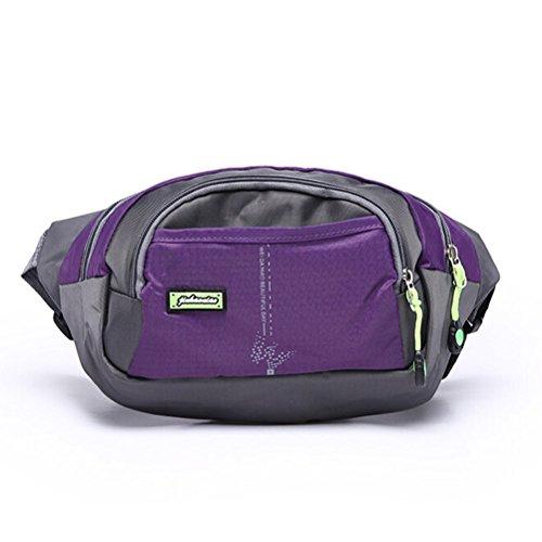 Nylon Waterproof Durable Casual Outdoor Sport Travel Chest Shoulder Bag Waist Belt Bag Shoulder Pack Purple