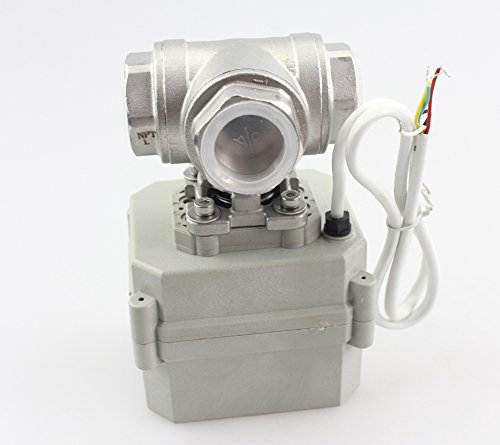 HSH-Flo Motorized Ball Valve 3/4' 110V/220V Stainless Steel 3 Port 3 Way L Port Five Wires Position Feedback Electric Ball Valve CR5-02