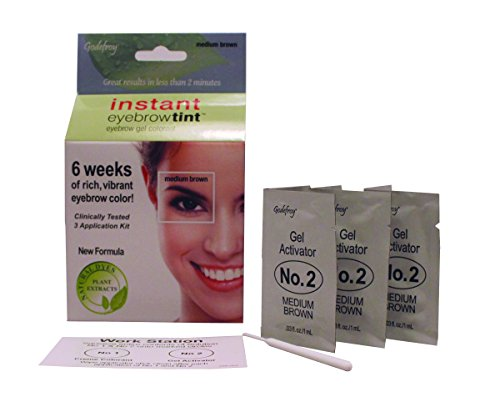 Godefroy Instant Eyebrow Tint Botanicals 3 Applications Included, Medium (Instant Eyebrow)